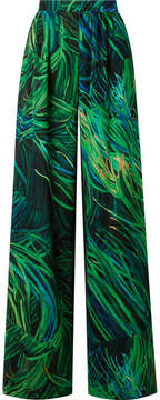 Elie Saab Printed Silk-georgette Wide-leg Pants - Green