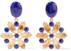Bounkit Gold-Tone Lapis And Quartz Earrings