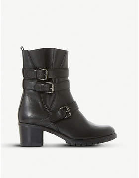 Dune Black Pennfolde leather ankle boots