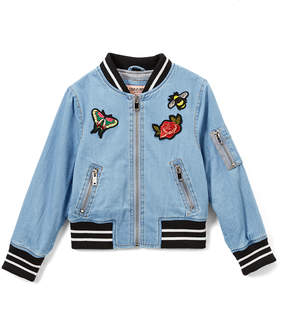 Urban Republic Light-Wash Embroidered Chambray Bomber Jacket - Infant, Toddler & Girls