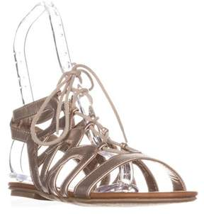 American Rag Ar35 Marlie Flat Lace-up Sandals, Gold.