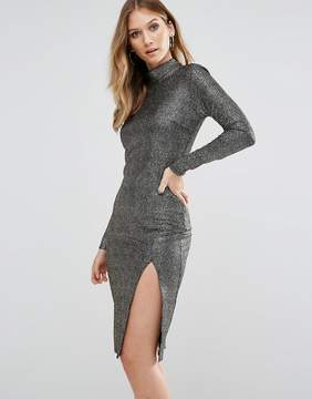 Club L High Neck Textured Metallic Bodycon Dress With Thigh Split