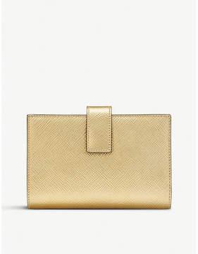 Smythson Panama cross-grain leather small continental purse