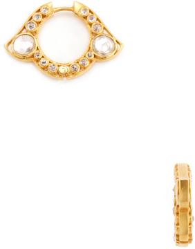 Amrapali Women's 18K Yellow Gold, Silver & 1.12 Total Ct. Diamond Hoop Earrings