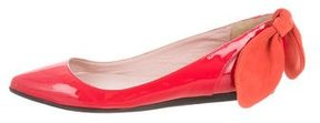 Carven Patent Leather Bow-Accented Flats