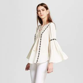Cliche Women's Embroidered Trim Lace Peasant Top White-Black