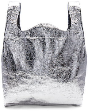 MM6 Maison Margiela Shopping Bag in Metallic Silver.
