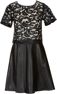 Blush by Us Angels Big Girls 7-16 Short-Sleeve Lace Popover Dress