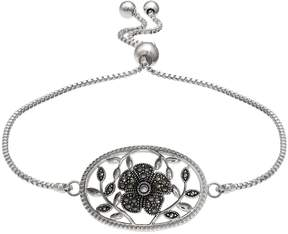 Brilliance+ Brilliance Silver Plated Marcasite Flower & Vine Bolo Bracelet