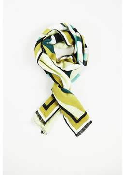 Emilio Pucci Pre-owned Multicolor Angora Silk & Wool Abstract Print Fringed Scarf.