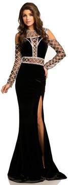 Johnathan Kayne 8105 Stretch Velvet Lattice Fitted Gown