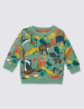 Marks and Spencer Pure Cotton All Over Print Sweatshirt