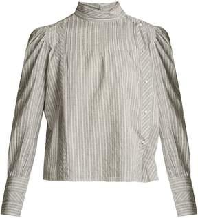 Etoile Isabel Marant Oak high-neck striped cotton shirt