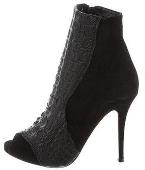 Alexa Wagner Rebecca Crocodile-Trimmed Ankle Boots