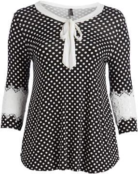 Celeste Black Polka Dot Lace-Sleeve Tie-Neck Tunic - Plus