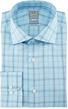 Ike Behar Large Windowpane-Check Woven Dress Shirt, Aqua/Navy