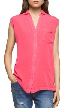 CK Calvin Klein Solid Spread-Collar Top