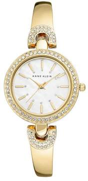 Anne Klein Crystal-Accented Goldtone Pavé Detail Semi-Bangle Bracelet Watch