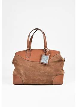 Ralph Lauren Pre-owned Brown Suede & Leather Trimmed Silver Tone Tote Bag.