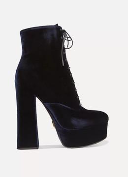 Prada Velvet Platform Ankle Boots - Navy
