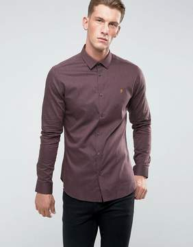 Farah Slim Shirt In Hopsack and Button Down Collar