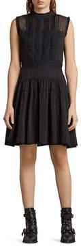 AllSaints Myra Pintuck Dot Dress