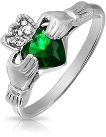 Celtic Bling Jewelry Claddagh Simulated Emerald Cz Sterling Silver Ring.