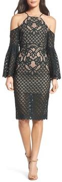Bardot Women's 'Mila' Cold Shoulder Lace Midi Dress