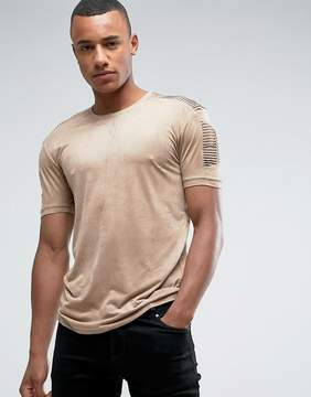 Loyalty And Faith Suedette T-Shirt with Sleeve Detail