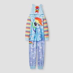 My Little Pony Girls' Long Sleeve With Hooded Footed Sleeper - Blue