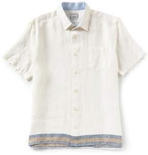 Murano Placed Stripe Linen Short-Sleeve Woven Shirt