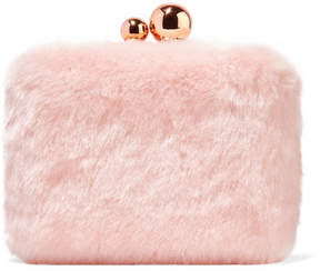 Sophia Webster Vivi Leather-trimmed Faux Fur Clutch - Baby pink