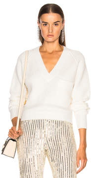 Chloé Chunky Rib Pocket V Neck Sweater