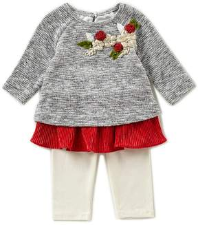 Rare Editions Baby Girls Newborn-24 Months Floral-Applique Sweater & Leggings Set