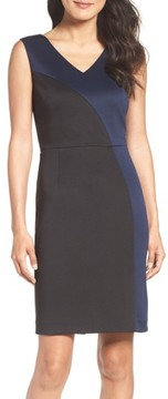 Ellen Tracy Women's Colorblock Scuba Sheath Dress