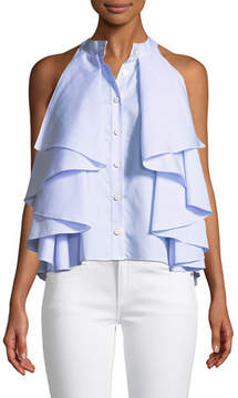 Caroline Constas Adrie Sleeveless Button-Front Striped Ruffled Blouse
