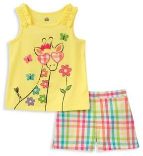 Kids Headquarters Little Girl's Two-Piece Giraffe Top and Shorts Set