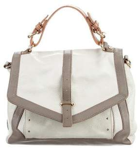 Tory Burch 797 Bicolor Grained Leather Satchel - NEUTRALS - STYLE