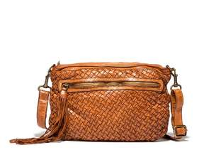 Johnny Was Ilaria Woven Washed Leather Cross Body Bag