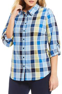 Allison Daley Plus Long Roll-Tab Sleeve Button Front Square Plaid Shirt