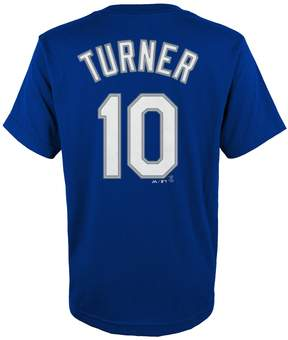Majestic Boys 4-18 Los Angeles Dodgers Justin Turner Player Name and Number Tee
