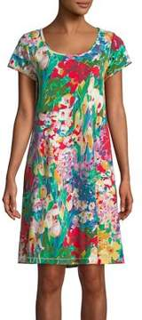 Miss Elaine Plus Floral Short-Sleeve Nightgown