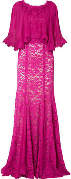 Dolce & Gabbana Cape-effect Chiffon And Corded Lace Gown - Magenta