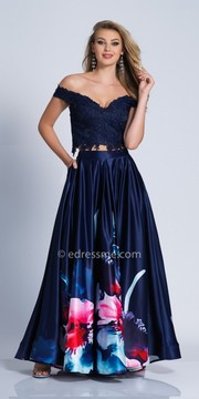 Dave and Johnny Lace Two Piece Off the Shoulder A-line Prom Dress