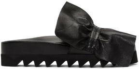 Joshua Sanders Black Ruched Slide Sandals