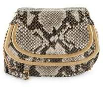 Donna Karan Convertible Snake Print Leather Clutch