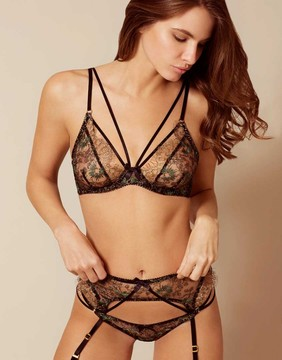 Agent Provocateur Castalia Bra Black Green and Gold