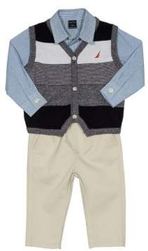 Nautica Baby Boy's Three-Piece Button-Down Shirt, Vest and Pants Set