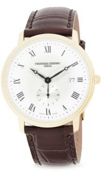 Frederique Constant Slimline Stainless Steel & Croc-Embossed Leather Strap Watch