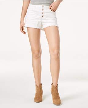 American Rag Juniors' Ripped Raw-edged White Wash Denim Shorts, Created for Macy's